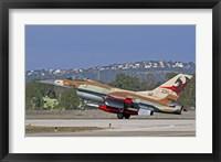 Framed F-16A Netz of the Israeli Air Force landing at Ramat David Air Force Base