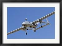 Framed IAI Heron unmanned aerial vehicle in flight over Israel