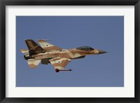 Framed F-16A Netz of the Israeli Air Force in flight over Israel
