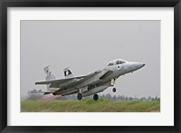 Framed F-15D Baz of the Israeli Air Force taking off from Tel Nof Air Base