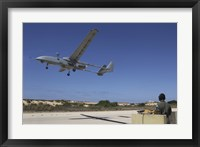 Framed IAI Heron Unmanned Aerial Vehicle takes off the runway