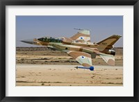 Framed F-16I Sufa of the Israeli Air Force taking off from Ramon Air Base