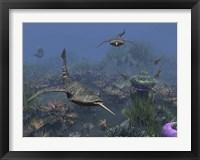 Framed Doryaspis swim amongst a bed of Anthozoa