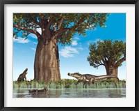Framed Kaprosuchus crocodyliforms near a baobab tree in a prehistoric landscape
