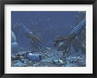 Framed Squid-like Orthoceratites attempt to make meals of trilobites