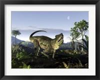 Framed archosaur of the genus Postosuchus wanders in a prehistoric landscape