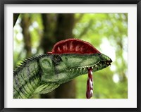 Framed Dilophosaurus wetherilli with a piece of flesh hanging out of its mouth