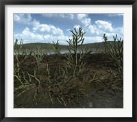 Framed Prehistoric landscape of Silu-Devonian land plants with branching axes