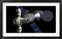 Framed Artist's concept of a Deep Space Vehicle with Extended Stay Module and Manned Maneuvering Vehicles