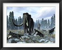 Framed pack of dire wolves crosses paths with two mammoths during the Upper Pleistocene Epoch