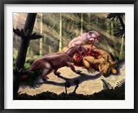 Framed Biarmosuchus predators eating the flesh of a Estemmenosuchus