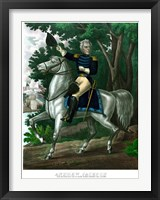 Framed General Andrew Jackson on Horseback (color)