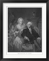 Framed President George Washington and His Family (black and white portrait)