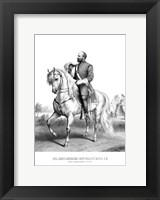 Framed President James Garfield on Horseback