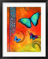 Framed Fluorescent Aqua Butterfly