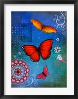 Framed Fluorescent Pink Butterfly