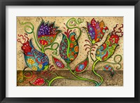 Framed Mosaic Flowers-Beige