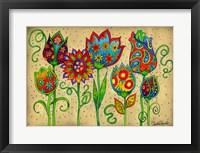 Framed Mosaic Flowers-Spring