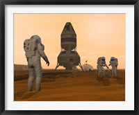 Framed Illustration of Astronauts Setting up a Base on the Martian Surface around their Lander Vehicle