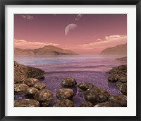 Framed Artist's Concept of Archean Stromatolites on the Shore of an Ancient Sea