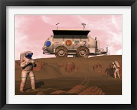 Framed Illustration of Astronauts Examining an Outcrop of Sedimentary Rock on a Martian Dune Field