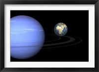 Framed Artist' concept of Neptune and Earth