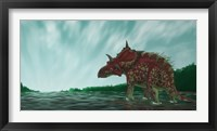 Framed Xenoceratops in the Shallow Waters of a Prehistoric River