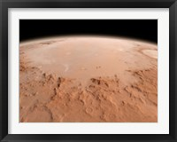 Framed Illustration of the Argyre Impact Basin in the Southern Highlands of Mars