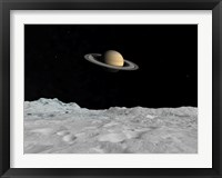 Framed Artist's concept of Saturn as seen from the Surface of its Moon Lapetus