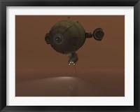 Framed Illustration of a Blimp Towing a Sensor through Liquid Ethane on Titan