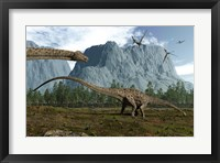 Framed Diplodocus Dinosaurs Graze While Pterodactyls Fly Overhead