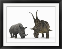 Framed Adult Diabloceratops Compared to a Modern adult White Rhinoceros