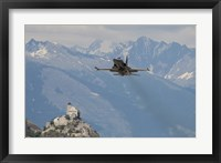 Framed Swiss Air Force F-5E Tigers Above Sion Air Base, Sion, Switzerland