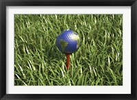 Framed 3D Rendering of an Earth Golf Ball on Tree in the Grass