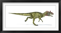 Framed Cryolophosaurus Dinosaur on White Background