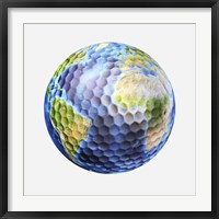 Framed 3D rendering of a planet Earth Golf Ball, White Background