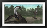 Framed Ornithomimus Mother Dinosaur with Juveniles, Adult Male in Background