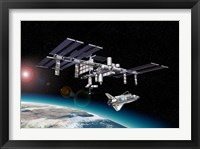 Framed Space Station in Orbit Around Earth with Space Shuttle