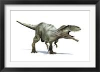 Framed 3D Rendering of a Giganotosaurus Dinosaur