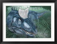 Framed Cryolophosaurus Walking through a Jurassic Forest