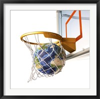 Framed 3D Rendering of Planet Earth Falling Into a Basketball Hoop