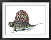 Framed 3D Rendering of a Dimetrodon Dinosaur