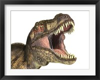 Close-up of Tyrannosaurus Rex dinosaur with Mouth Open Framed Print