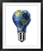 Framed Light bulb with planet Earth inside glass, Americas view