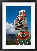 Framed Totem poles, Gold River, Vancouver, British Columbia