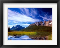 Framed Waterfowl Lake and Rugged Rocky Mountains, Banff National Park, Alberta, Canada