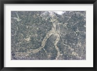 Framed Satellite View of Kansas City, Missouri