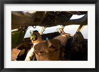 Framed US Army Pilots in-Flight in the Cockpit of a C-17 Globemaster III during a Mission to Qatar