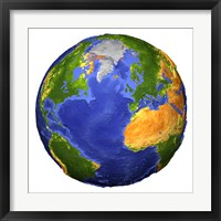 Framed Full view of the Earth Showing Topographic Data