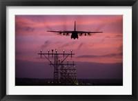 Framed C-130J Super Hercules landing at Ramstein Air Base, Germany